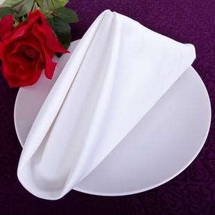 酒店全棉餐巾 高密棉红色白色擦嘴布 中西餐折花口布席巾方巾